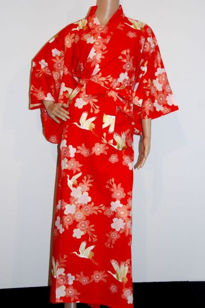 Yukata - Woman - Cherry Blossoms & Crane