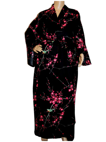 Fashion-Yukata - Plum/Bush Warbler schwarz